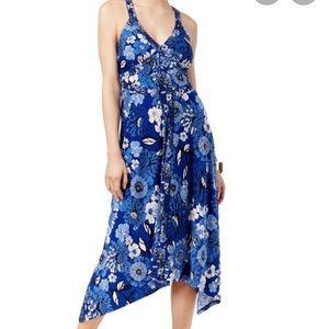Blue floral print sundress with handkerchief hem